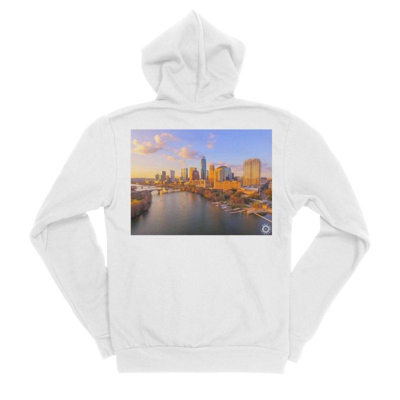 Austin Skyline Sunset / Custom Merchandise / Aerial Photography Men's Sponge Fleece Zip-Up Hoody by Holp Photography Artist Shop