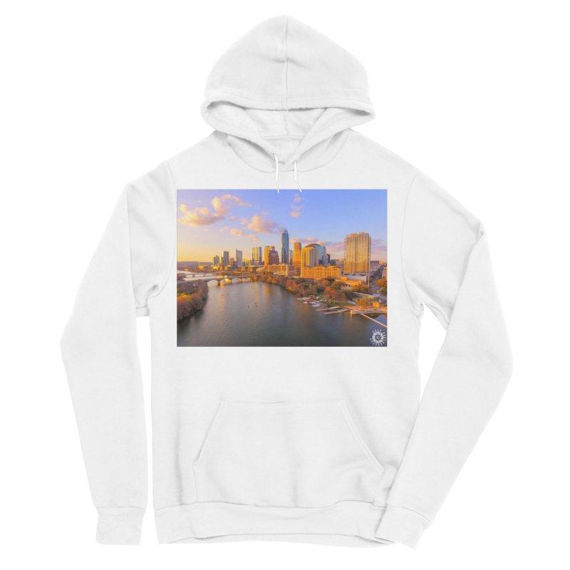 Austin Skyline Sunset / Custom Merchandise / Aerial Photography Women's Sponge Fleece Pullover Hoody by Holp Photography Artist Shop
