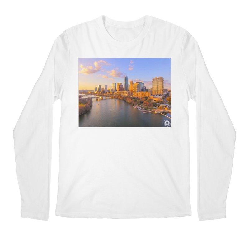 Austin Skyline Sunset / Custom Merchandise / Aerial Photography Men's Regular Longsleeve T-Shirt by Holp Photography Artist Shop