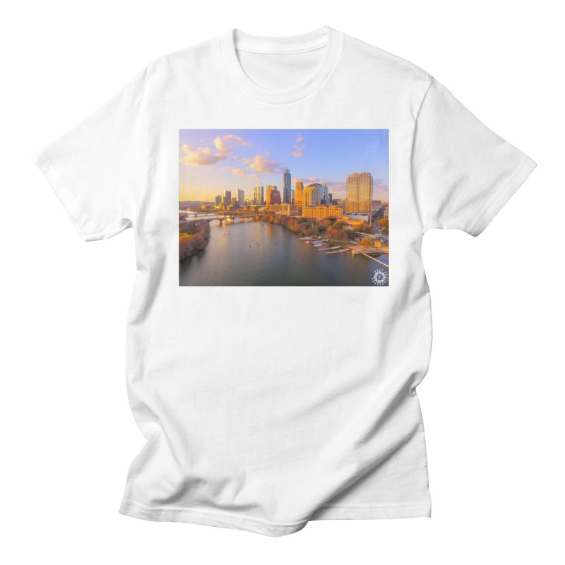 Austin Skyline Sunset / Custom Merchandise / Aerial Photography Men's Regular T-Shirt by Holp Photography Artist Shop