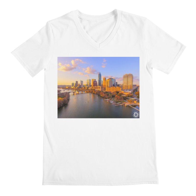 Austin Skyline Sunset / Custom Merchandise / Aerial Photography Men's V-Neck by Holp Photography Artist Shop