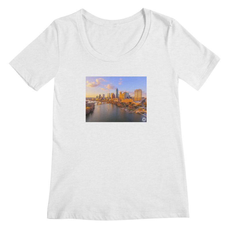 Austin Skyline Sunset / Custom Merchandise / Aerial Photography Women's Regular Scoop Neck by Holp Photography Artist Shop