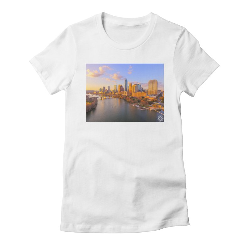 Austin Skyline Sunset / Custom Merchandise / Aerial Photography Women's Fitted T-Shirt by Holp Photography Artist Shop