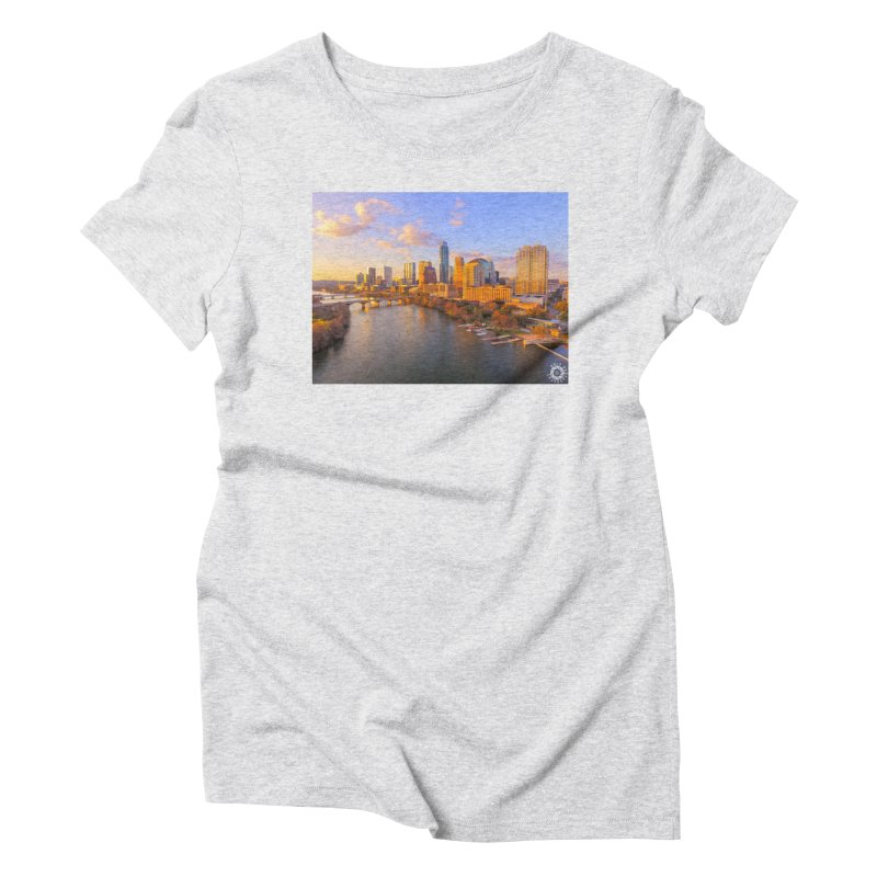 Austin Skyline Sunset / Custom Merchandise / Aerial Photography Women's Triblend T-Shirt by Holp Photography Artist Shop