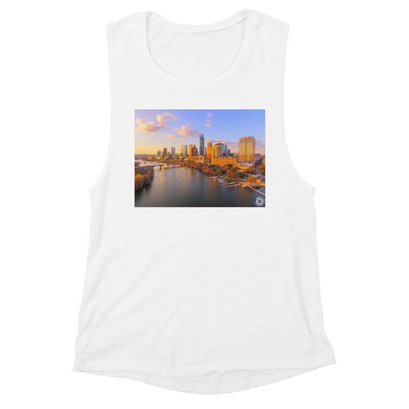 Austin Skyline Sunset / Custom Merchandise / Aerial Photography Women's Muscle Tank by Holp Photography Artist Shop