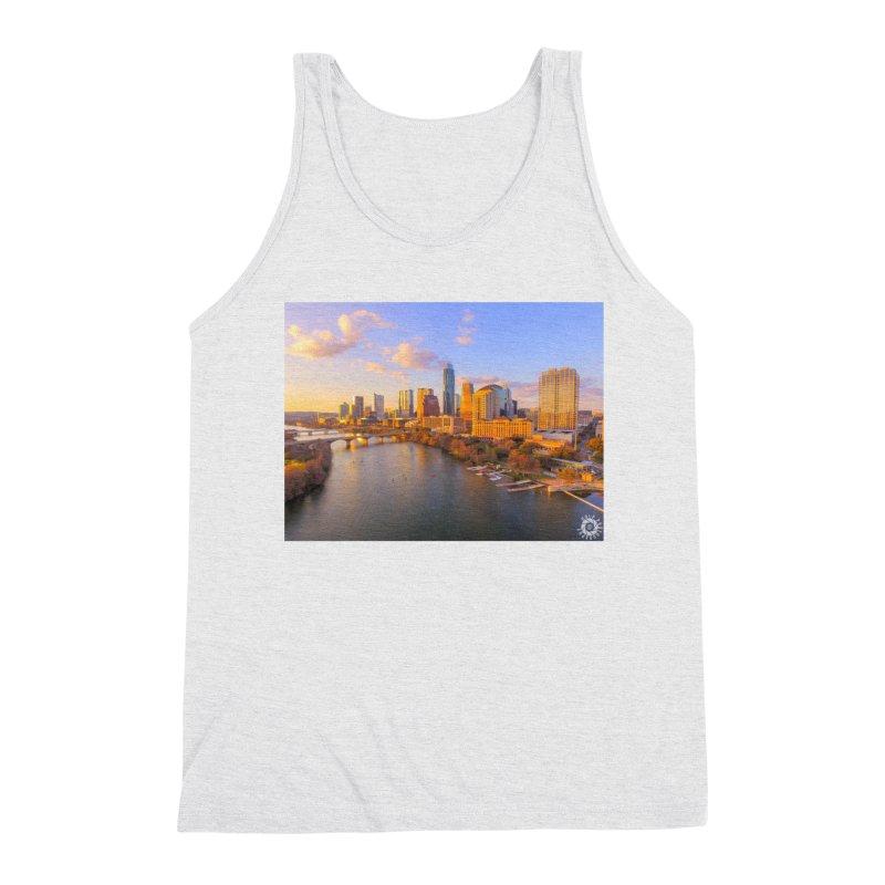 Austin Skyline Sunset / Custom Merchandise / Aerial Photography Men's Triblend Tank by Holp Photography Artist Shop