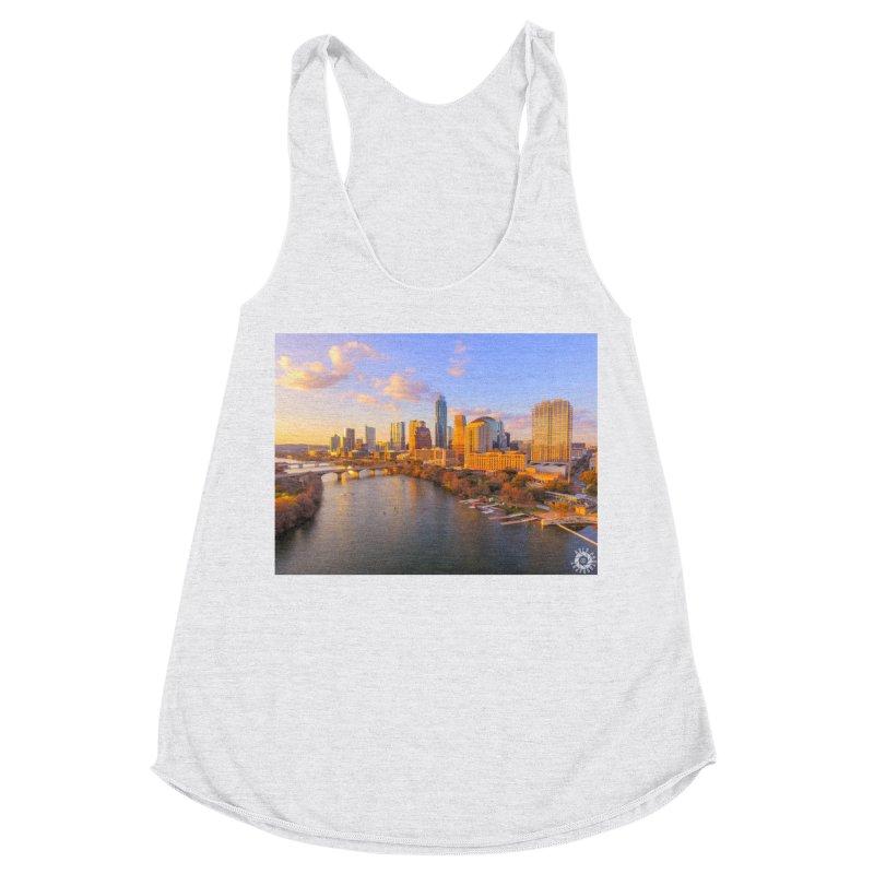 Austin Skyline Sunset / Custom Merchandise / Aerial Photography Women's Racerback Triblend Tank by Holp Photography Artist Shop