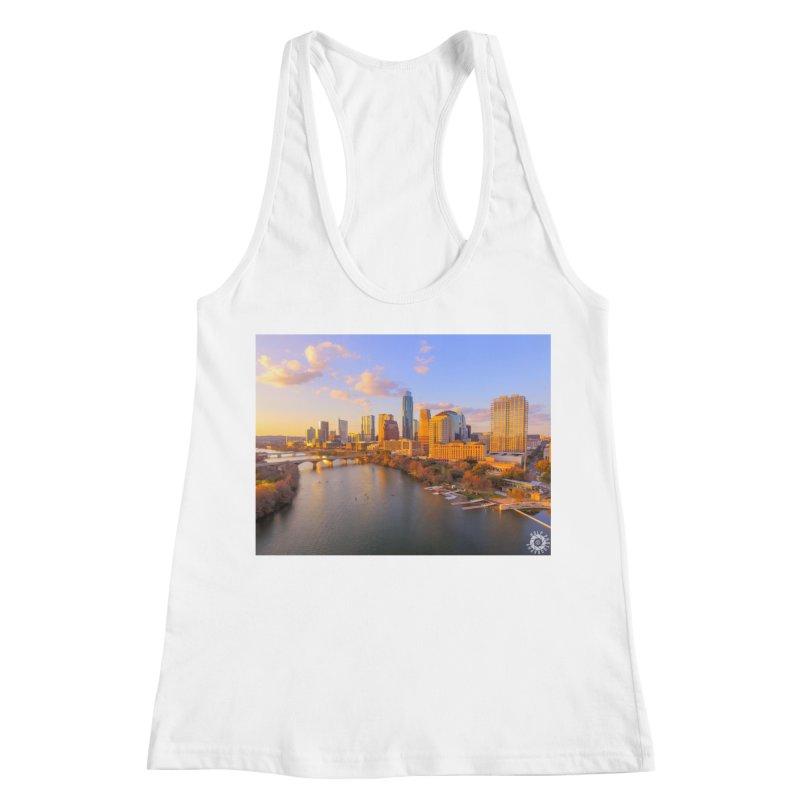 Austin Skyline Sunset / Custom Merchandise / Aerial Photography Women's Racerback Tank by Holp Photography Artist Shop