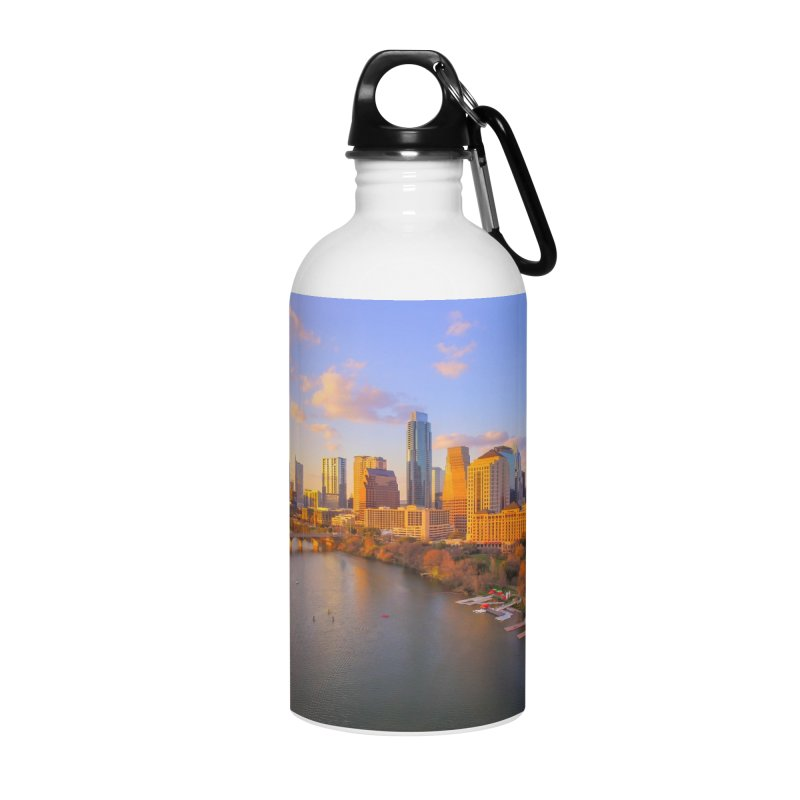 Austin Skyline Sunset / Custom Merchandise / Aerial Photography Accessories Water Bottle by Holp Photography Artist Shop