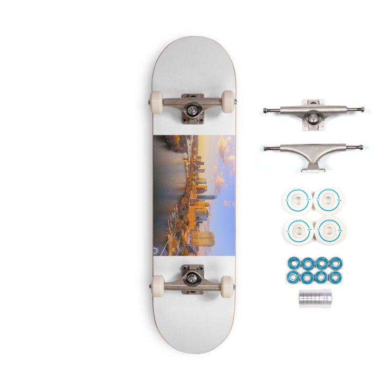 Austin Skyline Sunset / Custom Merchandise / Aerial Photography Accessories Complete - Basic Skateboard by Holp Photography Artist Shop