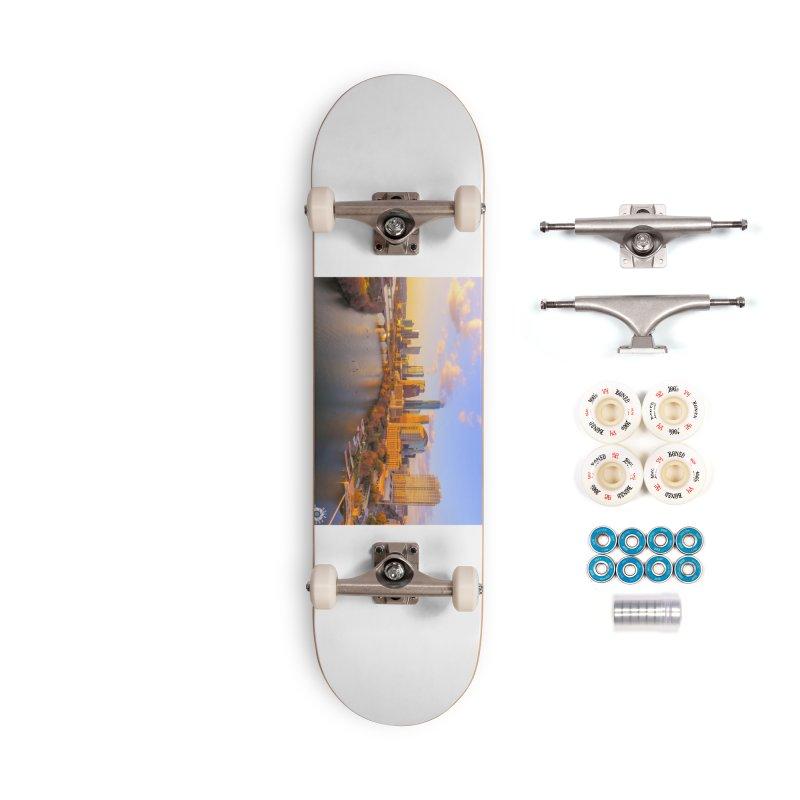 Austin Skyline Sunset / Custom Merchandise / Aerial Photography Accessories Complete - Premium Skateboard by Holp Photography Artist Shop