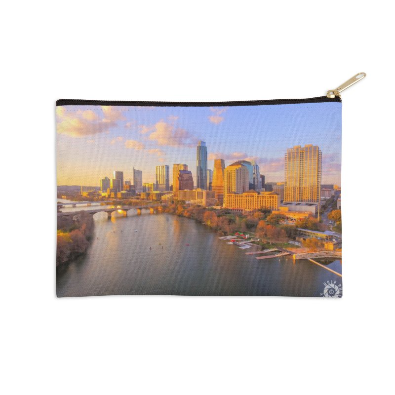Austin Skyline Sunset / Custom Merchandise / Aerial Photography Accessories Zip Pouch by Holp Photography Artist Shop