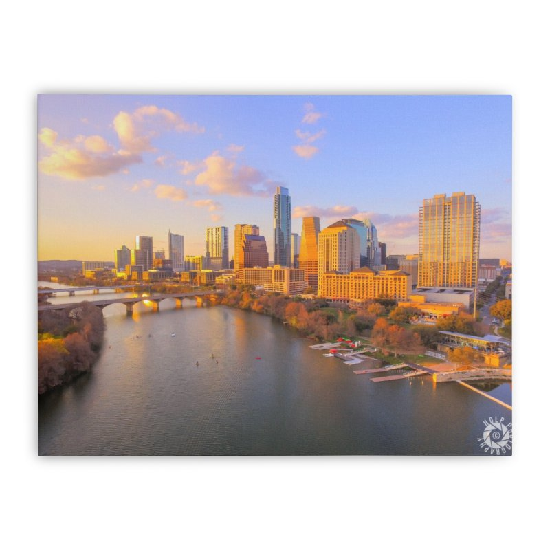 Austin Skyline Sunset / Custom Merchandise / Aerial Photography Home Stretched Canvas by Holp Photography Artist Shop