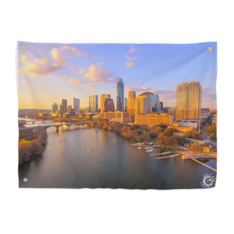 Austin Skyline Sunset / Custom Merchandise / Aerial Photography Home Tapestry by Holp Photography Artist Shop