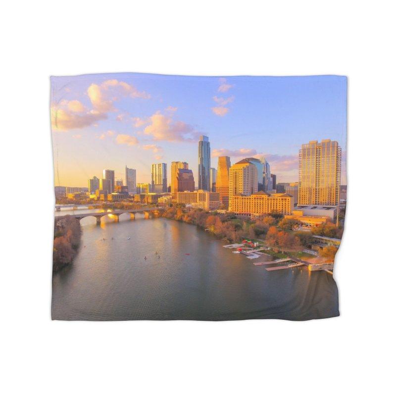 Austin Skyline Sunset / Custom Merchandise / Aerial Photography Home Fleece Blanket Blanket by Holp Photography Artist Shop