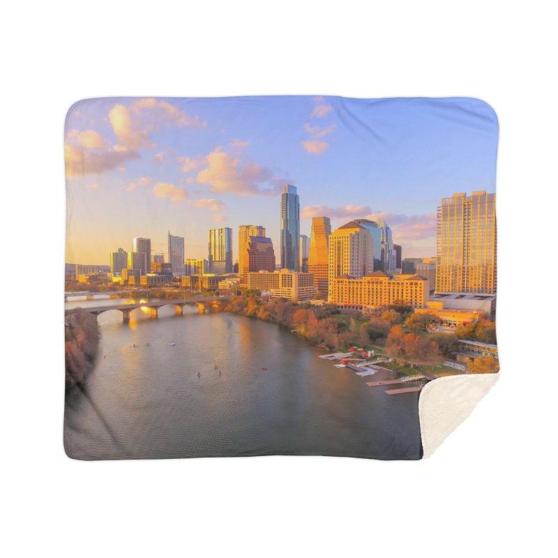 Austin Skyline Sunset / Custom Merchandise / Aerial Photography Home Sherpa Blanket Blanket by Holp Photography Artist Shop