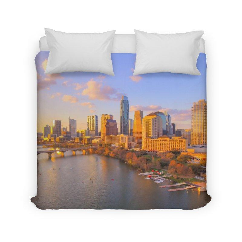 Austin Skyline Sunset / Custom Merchandise / Aerial Photography Home Duvet by Holp Photography Artist Shop