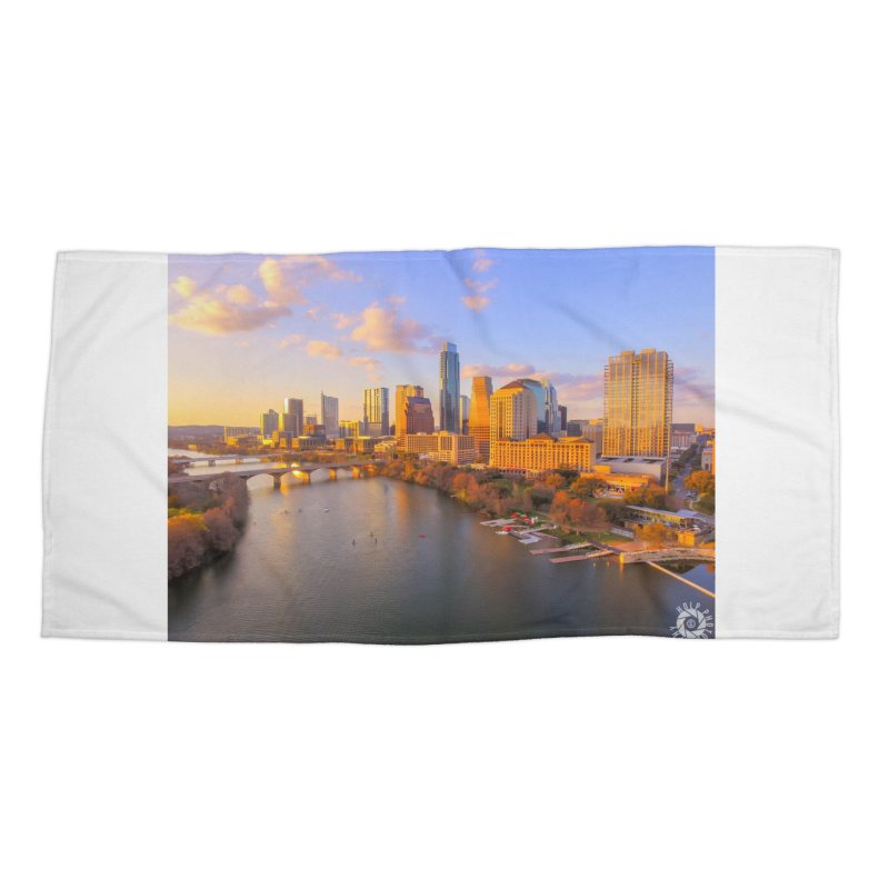 Austin Skyline Sunset / Custom Merchandise / Aerial Photography Accessories Beach Towel by Holp Photography Artist Shop