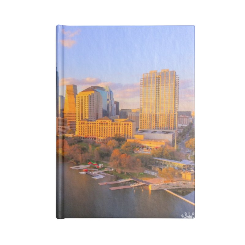 Austin Skyline Sunset / Custom Merchandise / Aerial Photography Accessories Lined Journal Notebook by Holp Photography Artist Shop