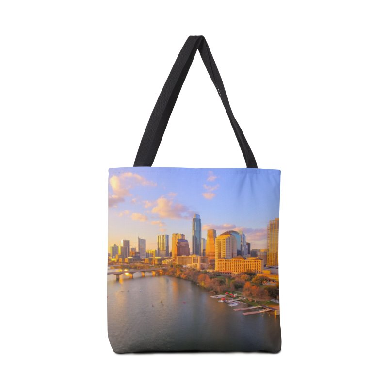 Austin Skyline Sunset / Custom Merchandise / Aerial Photography Accessories Tote Bag Bag by Holp Photography Artist Shop