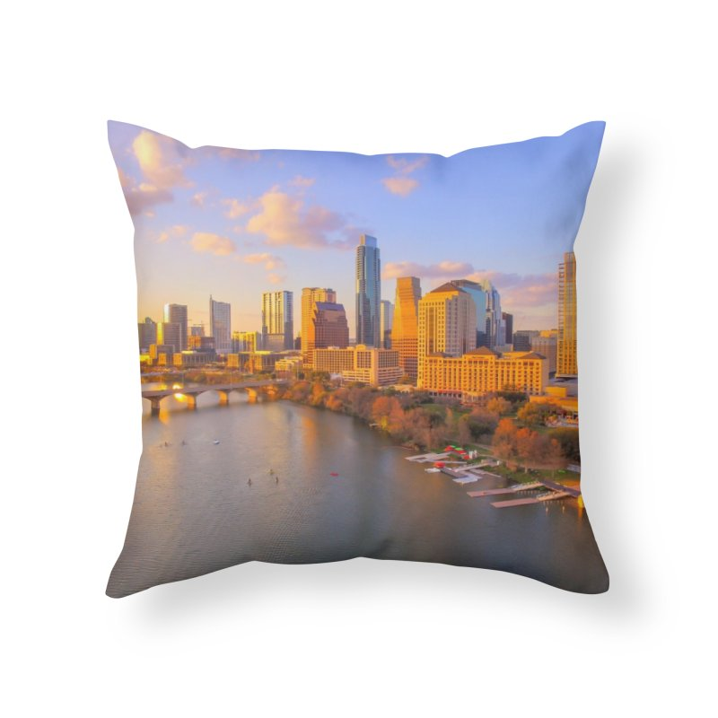 Austin Skyline Sunset / Custom Merchandise / Aerial Photography Home Throw Pillow by Holp Photography Artist Shop