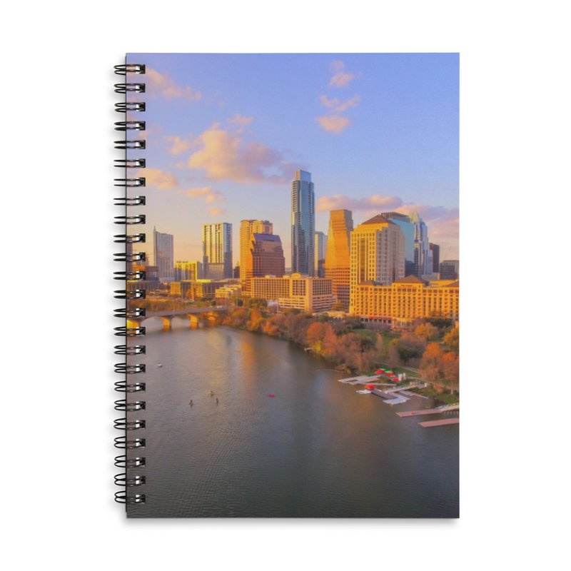 Austin Skyline Sunset / Custom Merchandise / Aerial Photography Accessories Lined Spiral Notebook by Holp Photography Artist Shop