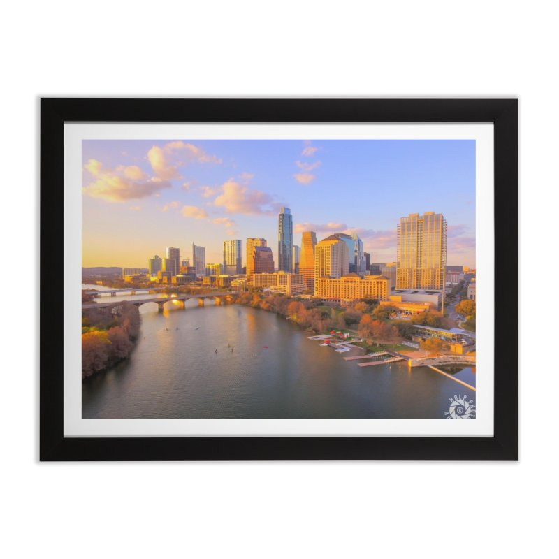 Austin Skyline Sunset / Custom Merchandise / Aerial Photography Home Framed Fine Art Print by Holp Photography Artist Shop