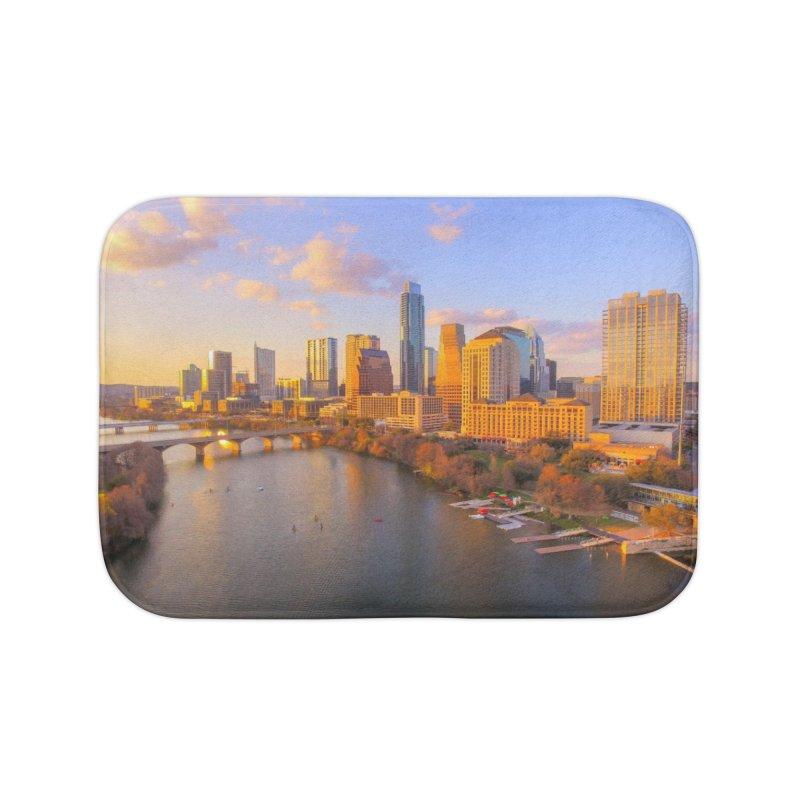 Austin Skyline Sunset / Custom Merchandise / Aerial Photography Home Bath Mat by Holp Photography Artist Shop