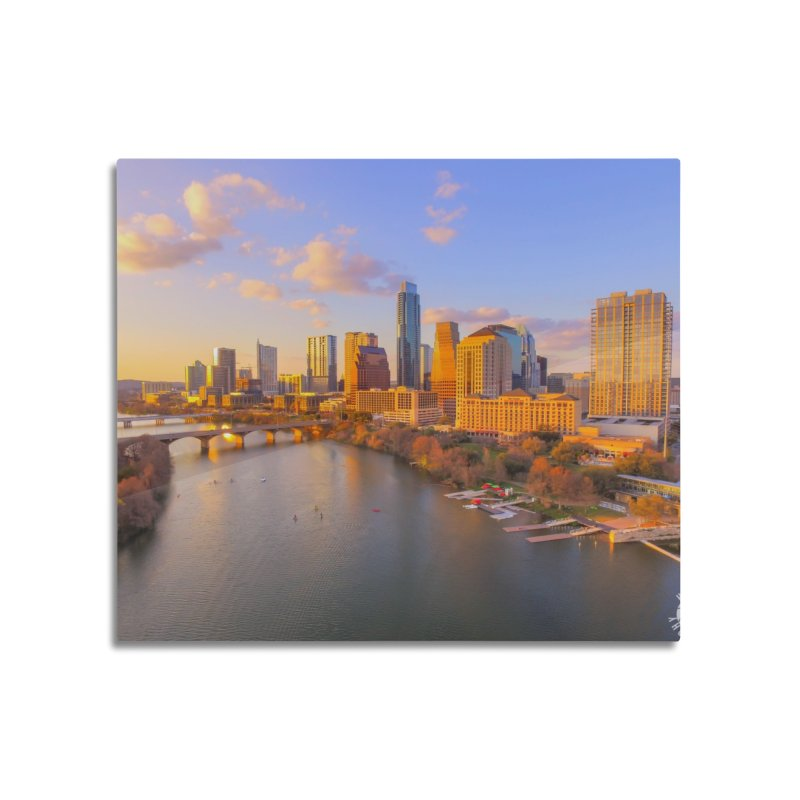 Austin Skyline Sunset / Custom Merchandise / Aerial Photography Home Mounted Aluminum Print by Holp Photography Artist Shop