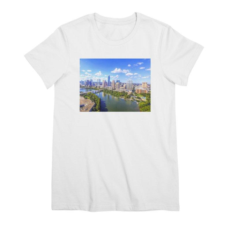 Austin Ladybird Skyline / Custom Merchandise / Aerial Photography Women's Premium T-Shirt by Holp Photography Artist Shop