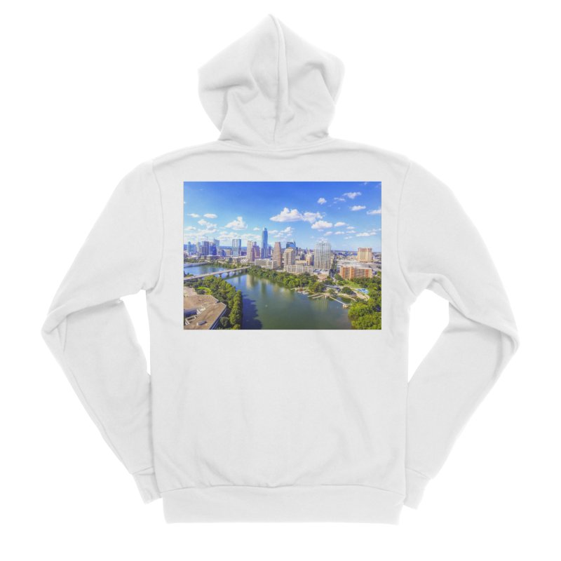 Austin Ladybird Skyline / Custom Merchandise / Aerial Photography Men's Sponge Fleece Zip-Up Hoody by Holp Photography Artist Shop