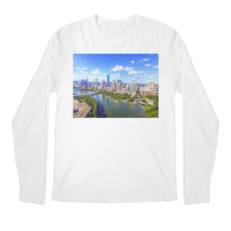 Austin Ladybird Skyline / Custom Merchandise / Aerial Photography Men's Regular Longsleeve T-Shirt by Holp Photography Artist Shop