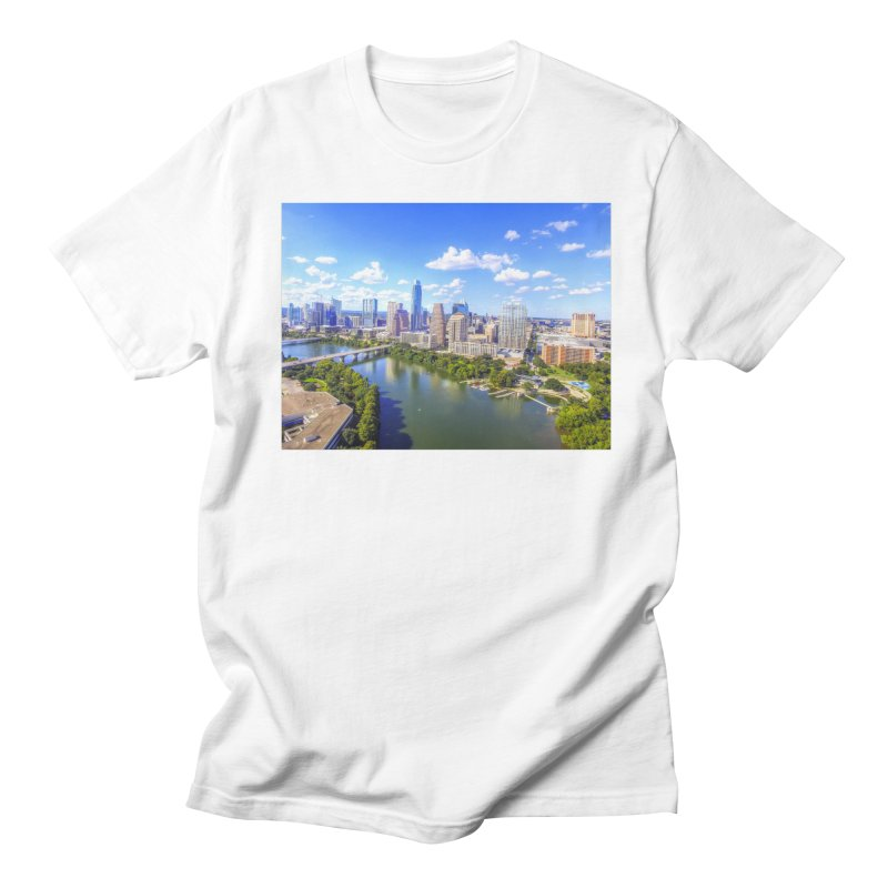 Austin Ladybird Skyline / Custom Merchandise / Aerial Photography Men's Regular T-Shirt by Holp Photography Artist Shop