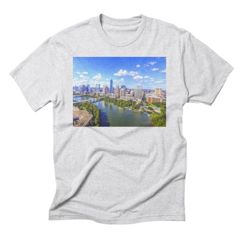 Austin Ladybird Skyline / Custom Merchandise / Aerial Photography Men's Triblend T-Shirt by Holp Photography Artist Shop