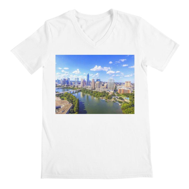 Austin Ladybird Skyline / Custom Merchandise / Aerial Photography Men's Regular V-Neck by Holp Photography Artist Shop