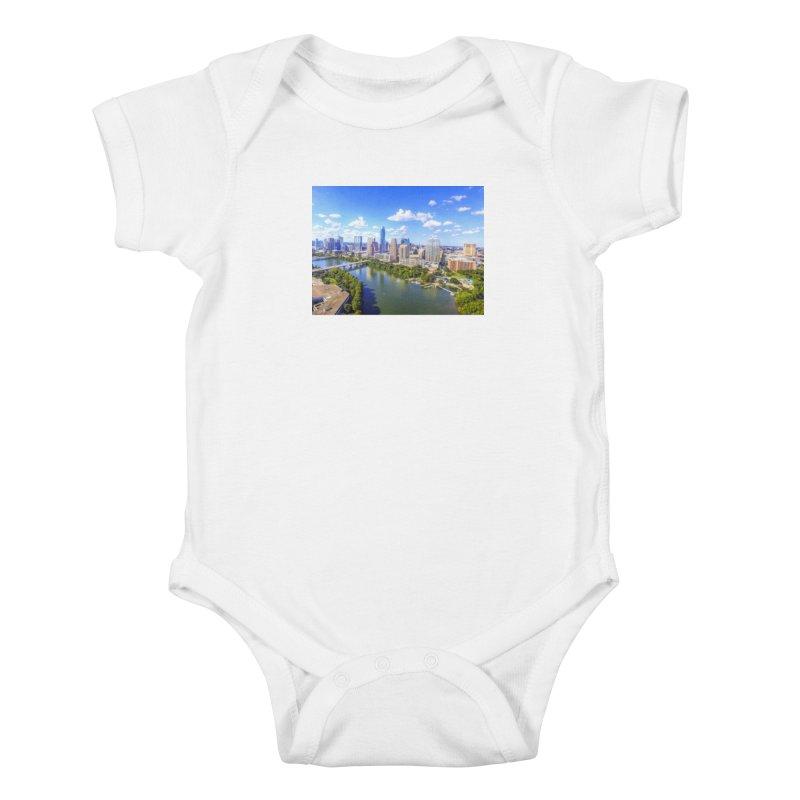 Austin Ladybird Skyline / Custom Merchandise / Aerial Photography Kids Baby Bodysuit by Holp Photography Artist Shop