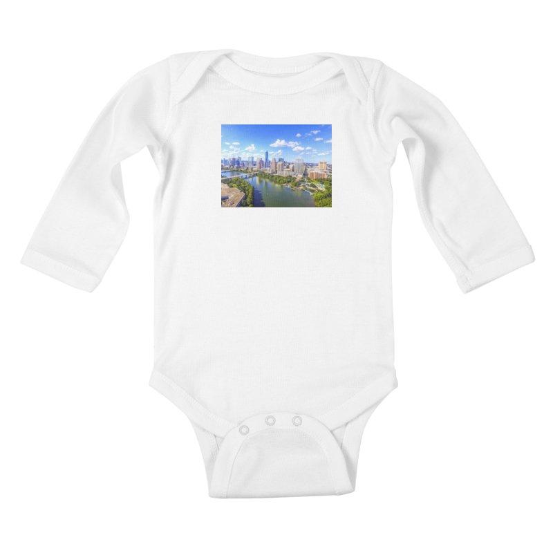 Austin Ladybird Skyline / Custom Merchandise / Aerial Photography Kids Baby Longsleeve Bodysuit by Holp Photography Artist Shop