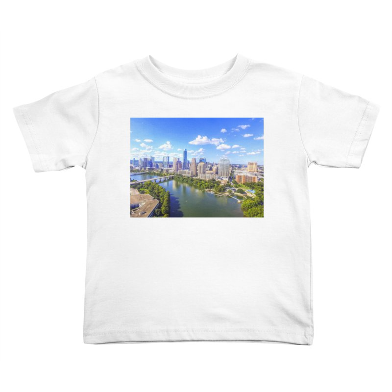 Austin Ladybird Skyline / Custom Merchandise / Aerial Photography Kids Toddler T-Shirt by Holp Photography Artist Shop
