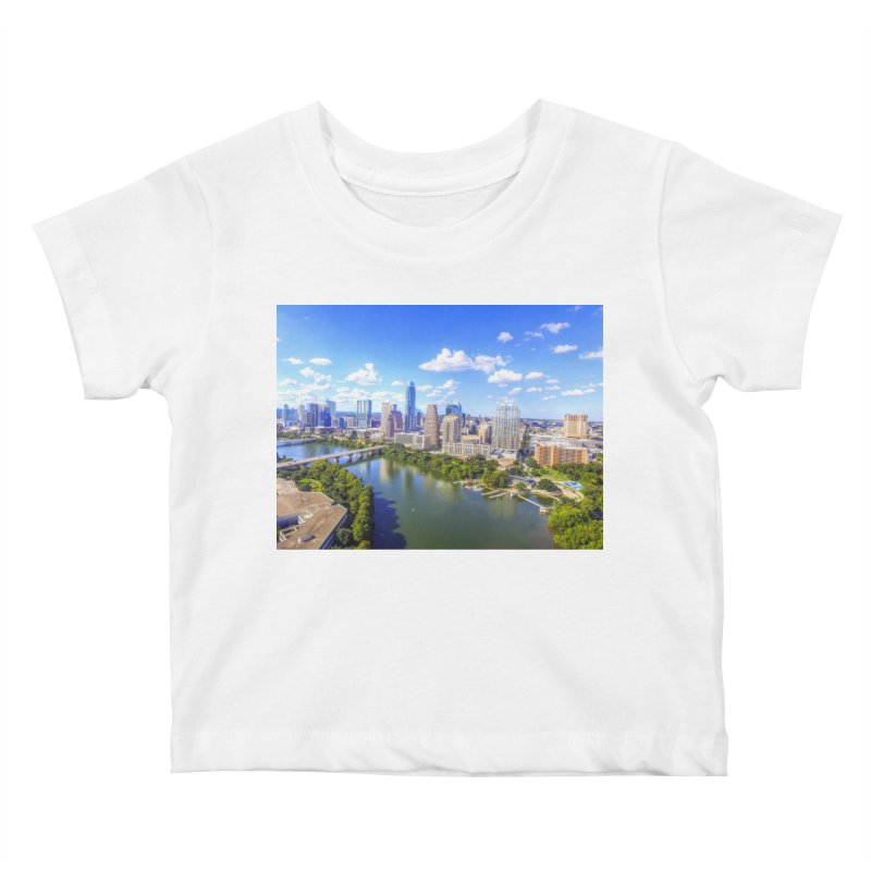 Austin Ladybird Skyline / Custom Merchandise / Aerial Photography Kids Baby T-Shirt by Holp Photography Artist Shop