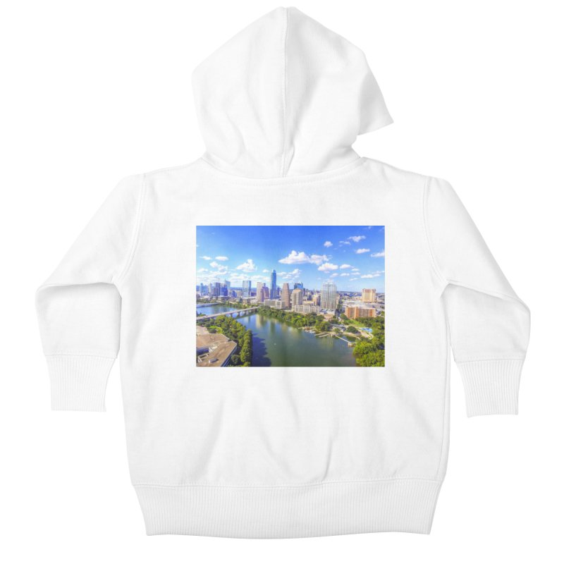 Austin Ladybird Skyline / Custom Merchandise / Aerial Photography Kids Baby Zip-Up Hoody by Holp Photography Artist Shop