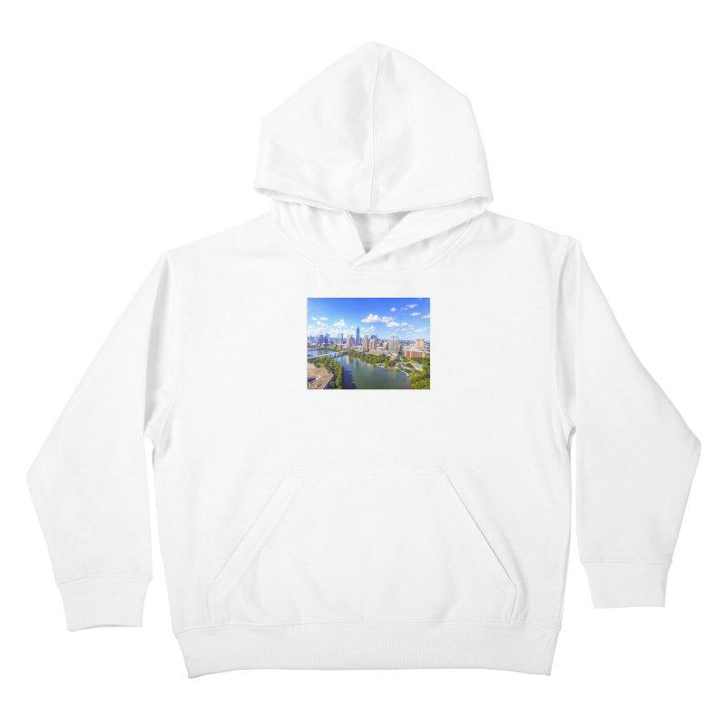 Austin Ladybird Skyline / Custom Merchandise / Aerial Photography Kids Pullover Hoody by Holp Photography Artist Shop