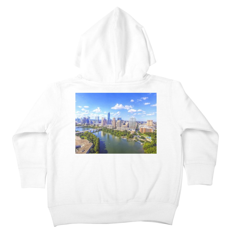 Austin Ladybird Skyline / Custom Merchandise / Aerial Photography Kids Toddler Zip-Up Hoody by Holp Photography Artist Shop