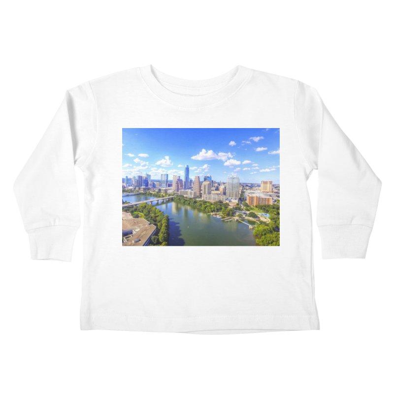 Austin Ladybird Skyline / Custom Merchandise / Aerial Photography Kids Toddler Longsleeve T-Shirt by Holp Photography Artist Shop