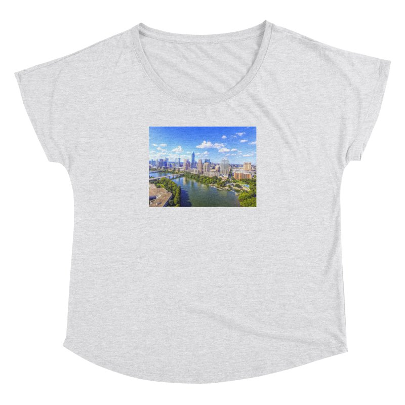 Austin Ladybird Skyline / Custom Merchandise / Aerial Photography Women's Dolman Scoop Neck by Holp Photography Artist Shop