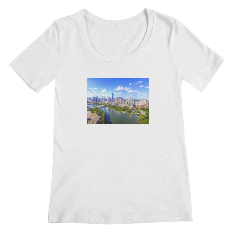 Austin Ladybird Skyline / Custom Merchandise / Aerial Photography Women's Regular Scoop Neck by Holp Photography Artist Shop