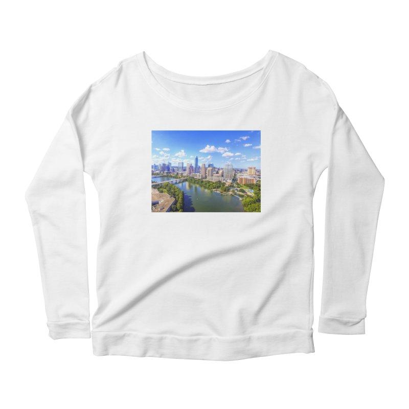 Austin Ladybird Skyline / Custom Merchandise / Aerial Photography Women's Scoop Neck Longsleeve T-Shirt by Holp Photography Artist Shop
