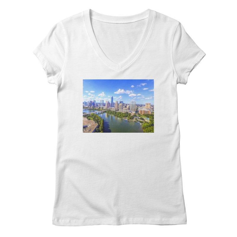 Austin Ladybird Skyline / Custom Merchandise / Aerial Photography Women's Regular V-Neck by Holp Photography Artist Shop