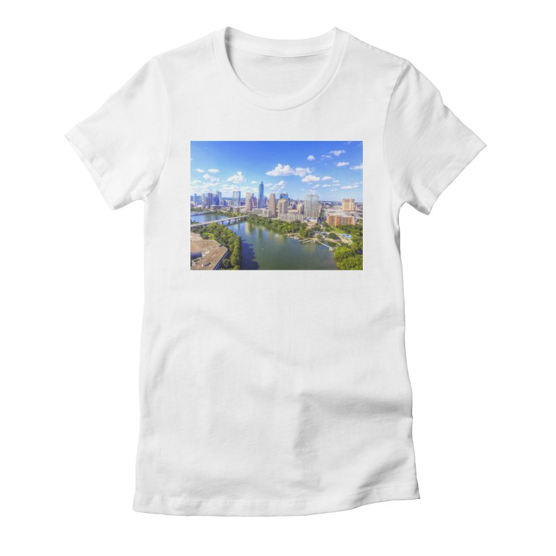 Austin Ladybird Skyline / Custom Merchandise / Aerial Photography Women's Fitted T-Shirt by Holp Photography Artist Shop