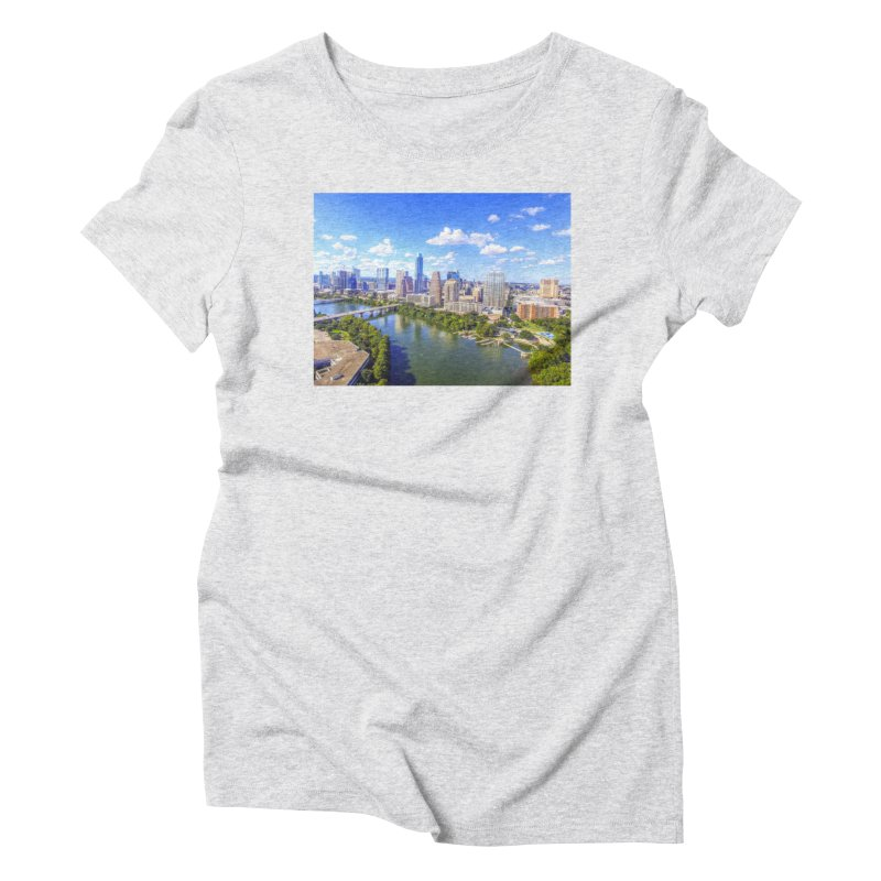 Austin Ladybird Skyline / Custom Merchandise / Aerial Photography Women's Triblend T-Shirt by Holp Photography Artist Shop