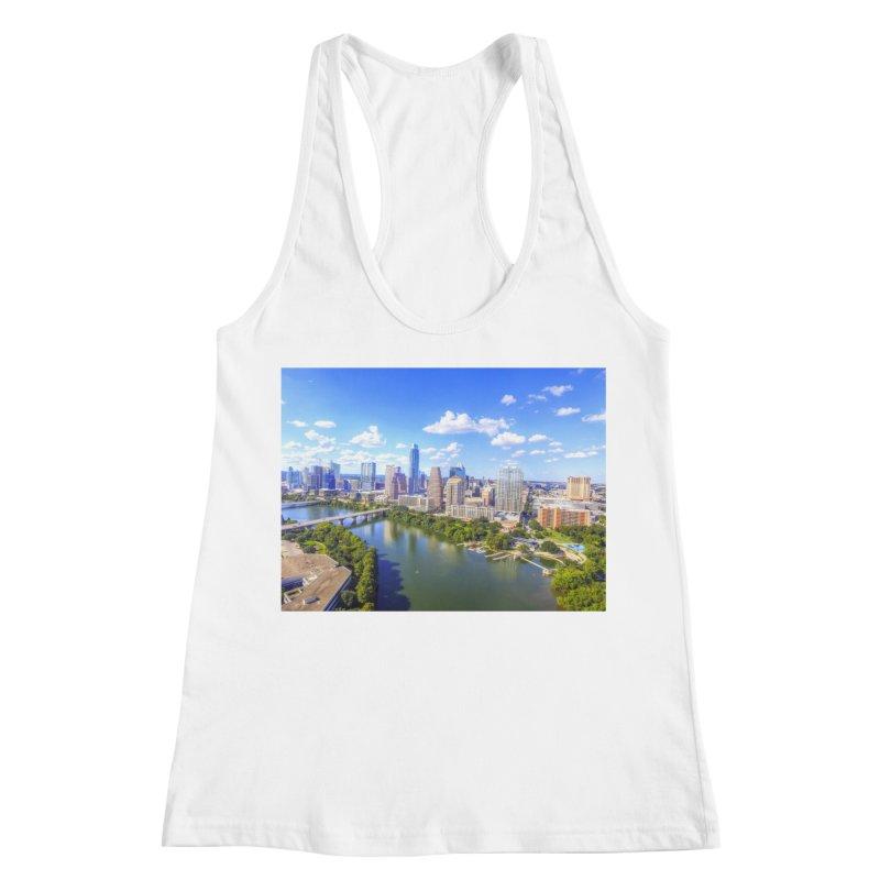 Austin Ladybird Skyline / Custom Merchandise / Aerial Photography Women's Racerback Tank by Holp Photography Artist Shop